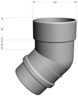 Колено трубы 45˚ Docke LUX 141/100 Графит