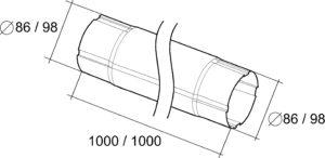 Труба соединительная 1м Grand Line 125/90 RAL 9003 Сигнально-белый
