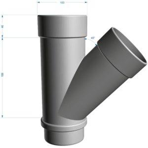 Тройник трубы 45˚ Docke LUX 141/100 Графит