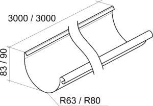 Желоб полукруглый 3м Grand Line 125/90 RAL 9003 Сигнально-белый