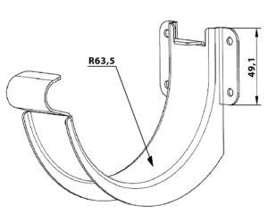 Крюк желоба короткий Grand Line 125/90 RAL 9003 Сигнально-белый