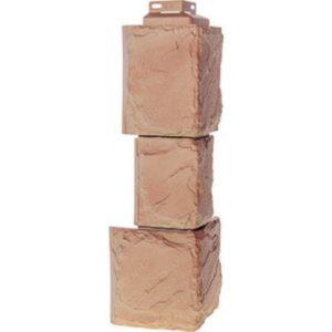 Угол наружный для Цокольного сайдинга FineBer Камень Крупный Терракотовый