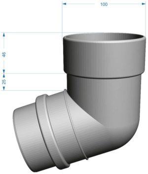 Колено трубы 72˚ Docke LUX 141/100 Пломбир