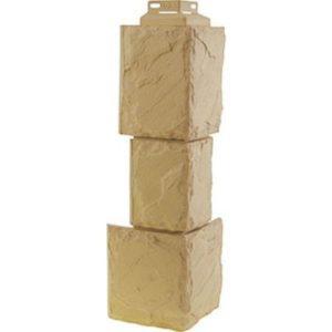 Угол наружный для Цокольного сайдинга FineBer Камень Крупный Песочный