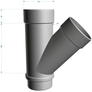 Тройник трубы 45˚ Docke LUX 141/100 Пломбир