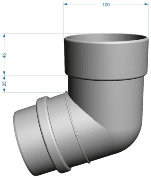 Колено трубы 72˚ Docke LUX 141/100 Графит