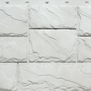 Сайдинг цокольный FineBer Камень крупный Мелованный белый