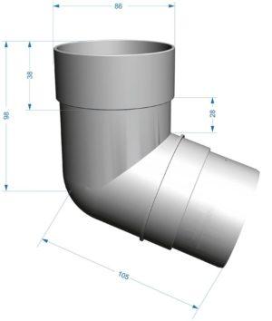 Колено трубы 72˚ Docke Premium 120/85 Гранат