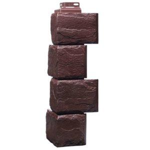 Угол наружный Фасайдинг Дачный (FineBer) Камень Крупный Коричневый